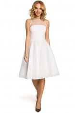Ecru Wieczorowa Sukienka z Prześwitującym Modnie Karczkiem