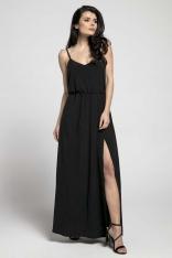 Czarna Zwiewna Maxi Sukienka na Cienkich Ramiączkach z Rozcięciem