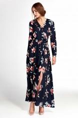 Granatowa Kopertowa Maxi Sukienka w Kwiaty