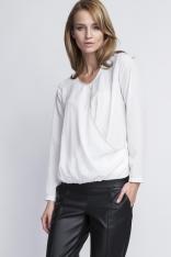 Biała Elegancka Kopertowa Bluzka z Długim Rękawem