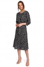 Midi Sukienka w Grochy z Nietoperzowym Rękawem - Czarna