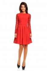 Czerwona Wizytowa Sukienka z Koronkowym Długim Rękawem