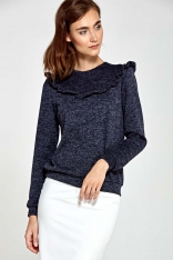 Granatowy Sweter z Falbanką