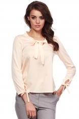 Łososiowa Koszulowa Bluzka z Wiązaniem