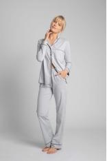 Długie Spodnie Piżamowe z Lamówkami - Popielate