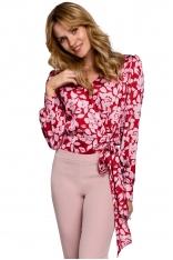 Bluzka w Kwiaty o Kopertowym Kroju - Model 1