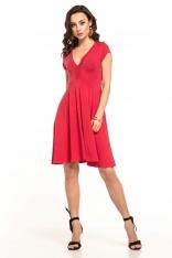 Czerwona Sukienka Dzianinowa z Dekoltem V na Lato