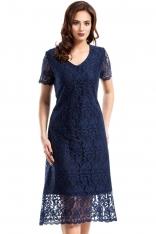 Granatowa Elegancka Koronkowa Sukienka Midi z Krótkim Rękawem