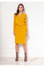 Sukienka z Kopertowym Dekoltem - Musztardowa