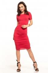 Czerwona Dopasowana Midi Sukienka z Drapowaniami