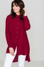 Nowoczesna Czerwona Koszula Zapinana na Zatrzaski z Dłuższym Tyłem