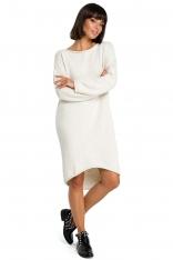 Beżowa Asymetryczna Swetrowa Sukienka z Dekoltem w Łódkę