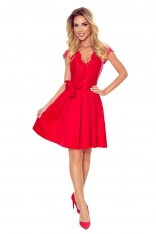 Czerwona Wieczorowa Rozkloszowana Sukienka z Koronką