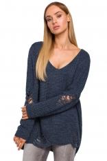 Jeansowy Nowoczesny Sweter Oversize z Efektem Damage
