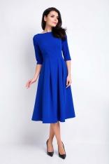 db90f0b8fd Niebieska Sukienka Wizytowa Midi z Szerokim Dołem