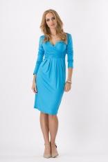 Lazurowa Elegancka Sukienka Midi z Kopertowym Założeniem