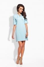 Błękitna Trapezowa Sukienka Sznurowana przy Dekolcie