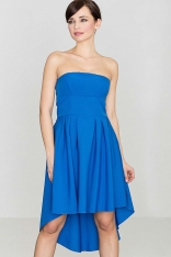 Modna Sukienka z Odkrytymi Ramionami Wydłuzonym Tyłem  Niebieska