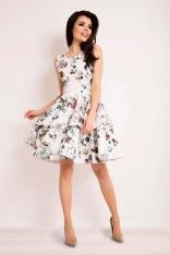 Sukienka Rozkloszowana w Kwiaty z Baskinką