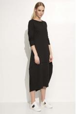 Czarna Sukienka Asymetryczna Bombka Midi z Długim Rękawem