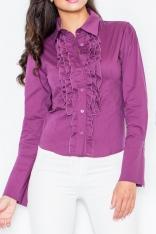 Kobieca Koszula z Falbankami w Kolorze Bakłażanu