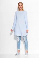 Błękitny Sweter Długi Luźny