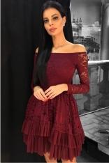 Sukienka Koronkowa w Hiszpańskim Stylu w Winnym Kolorze