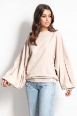Bluza z Bardzo Szerokim Rękawem - Beżowy