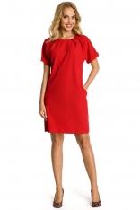 Czerwona Sukienka z Krótkim Reglanowym Rękawem