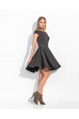 Czarna Rozkloszowana Sukienka Koktajlowa z Niewielkim Rękawkiem