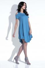 Jeansowa Sukienka z Odkrytymi Ramionami