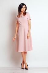 Pudrowa Wizytowa Sukienka Midi z Krótkim Rękawem