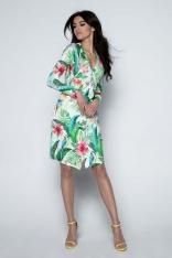 Sukienka Kopertowa w Różnokolorowe Tropikalne Motywy