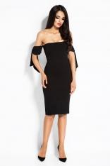 Czarna Sukienka z Opadającymi Ramionami