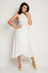 Ecru Wyjściowa Sukienka Asymetryczna z Wiązanym Dekoltem