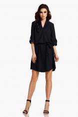 Czarna Koszulowa Sukienka z Kopertowym Dekoltem