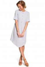 Szara Rozkloszowana Asymetryczna Sukienka z Ozdobnymi Guzikami