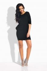 Czarna Sukienka Pudełkowa Mini z Wiązaniem z Tyłu