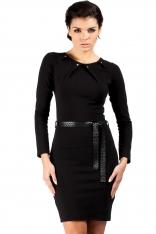 Czarna Elegancka Sukienka ze Złotymi Nitami