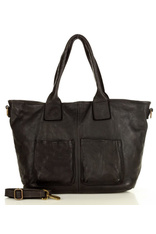Czarna Torebka Skórzana Shopper Bag