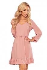 Zwiewna Sukienka w Serek - Różowa