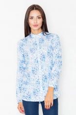 Koszula na Stójce we Wzór Niebieska Mozaika