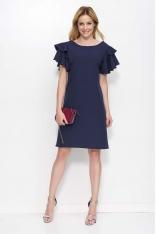 Granatowa Sukienka Wizytowa z Falbankami na Ramionach
