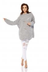 Jasnoszary Sweter Oversize z Dekoltem w Łódkę na Długi Rękaw