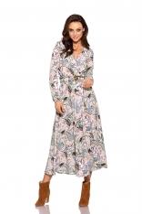 Kopertowa Midi Sukienka w Pantofelki z Paskiem