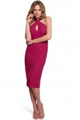 Ołówkowa Sukienka z Wiązaniem na Karku - Śliwkowa