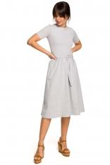 Szara Lekko Rozkloszowana Sukienka z Krótkim Rękawem