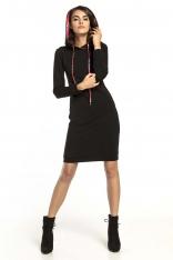 czarna Sukienka w Sportowym Stylu z Kapturem w Zygzaki