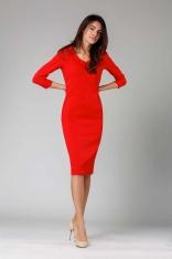 Czerwona Elegancka Dopasowana Sukienka z Kołnierzem