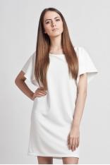 Biała Prosta Elegancka Sukienka z Rękawkami Typu Nietoperz